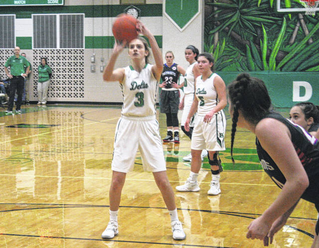 Reagan Rouleau knocks down a pair of free throws for Delta Friday versus Patrick Henry. She had eight points for the Panthers.