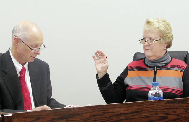 The Wauseon school board voted Monday to retain member Sandra Griggs as president. She was sworn in by David Fleming, district treasurer. Member Larry Fruth, who was not present, was retained as vice president.