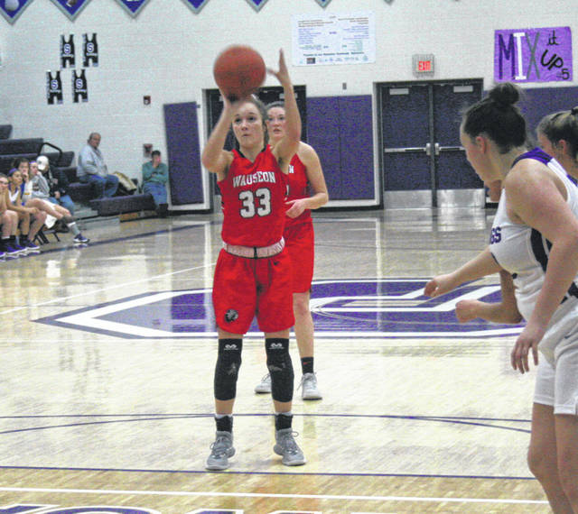 Sam Aeschliman of Wauseon knocks down a pair of fourth quarter free throws during Tuesday's win over Swanton. The Indians were victorious by a 41-33 final.