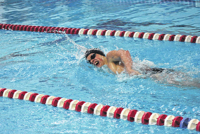 Ryan Scherer of Wauseon swims in the 500-yard freestyle at an earlier home meet this season. At the sectional tournament last week, he advanced with first place finishes in the 200 IM and 100-yard butterfly.