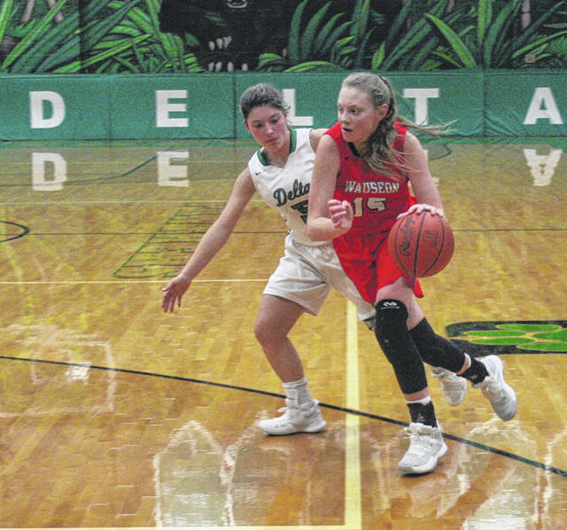 Marisa Seiler of Wauseon drives in from the wing in a game at Delta this season. She was first team All-NWOAL for the Indians.