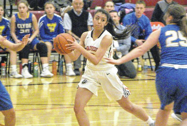 Alexis Suarez of Wauseon gets into the lane looking to pass Saturday during a Division II sectional final versus Clyde. The Indians won the sectional title with a 56-44 win over the Fliers.
