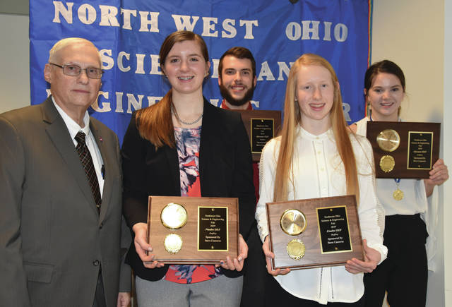 Four students were recently selected to represent northwest Ohio at the Intel International Science and Engineering Fair in Phoenix, Arizona from May 12-17. From left are James Short, president of the NWOSEF Council and long-time coordinator of the science fair; Carsyn Hagans, Archbold freshman; Nash Kuney, Hilltop senior; Jessica McWaters, Pettisville junior; and Katie Geis, Hilltop junior.