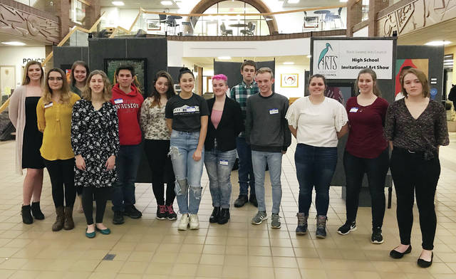Some of the 2019 Black Swamp Arts Council High School Art Show winners are, from left, Emma Mormon, Karissa Moore, Amberlyn Whitson, Gwynne Riley, Nolan Flint, Kyla Day-Hemenway, Olivia De Leon, Carolyn Rychenor, Cole Gillen, Ben Seigman, Maddie Schaper, Carmen Merillat, Chascity Brehm. Not pictured: Alyssa Russell, Emma Rees, Blake Funkhouser, Mariah Blasing, Abby Allison, Megan Carroll, Gabby Cox.