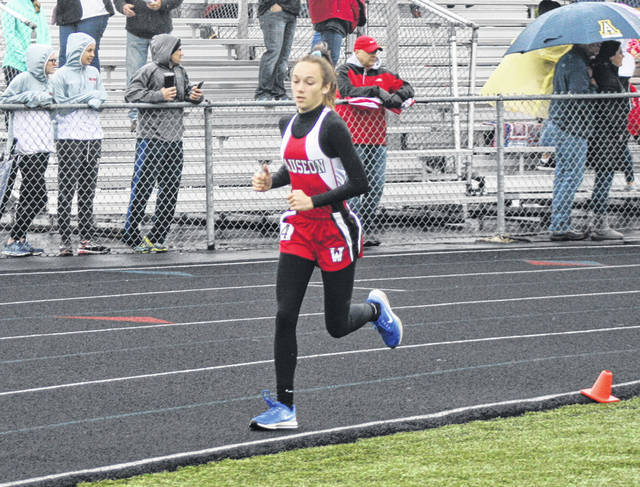 Sam Aeschliman runs for Wauseon at the Division II district meet last season. She returns for the Indians after qualifying for the regional in the 1600 meter run as a sophomore.