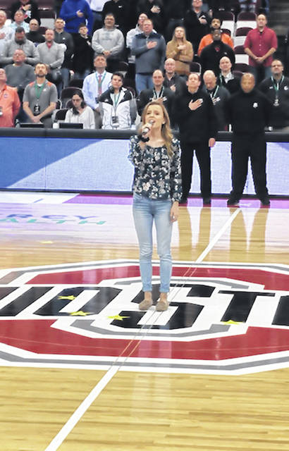 Wauseon High School senior Monica Betz showed off her singing skills Thursday as she performed the National Anthem at the Ohio High School Boys Basketball Tournament. She sang prior to each of the Division II semifinal games at the Schottenstein Center in Columbus.
