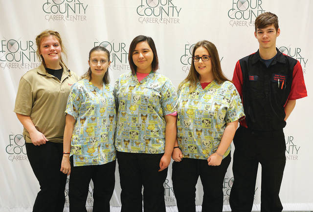 Four County Career Center's FFA chapter members placed in the top 10 at the FFA district contests. Competitors from Fulton County are, from left, Ariel Kohlhofer of Delta, Elizabeth Gafner of Delta, Joslyn Tijerina of Archbold, Brianna O'Neill of Wauseon, and Cade Smith of Wauseon. Veterinarian Assistant students placed first as a team in the Veterinary Science competition and third in the Animal Management contest. Ag/Diesel Mechanics, Diesel Mechanics, and Powersports students placed first as a team in the Ag Skills contest and third in the Outdoor Power Equipment contest. Absent from the photo is Brock Ranzau of Archbold. The FFA advisors for these programs are Stephanie Pippin, Denton Blue, Jason Elston, and Larry Soles.