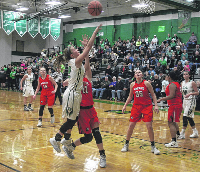 Abby Freeman of Delta with a bucket in a game against Wauseon this season. She was first team in District 7 for the Panthers.