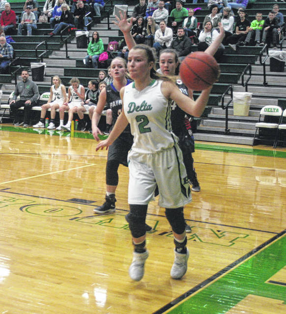 Delta's Abby Freeman makes a pass along the baseline in a game versus Patrick Henry this season. Freeman was first team all-district in Division III.