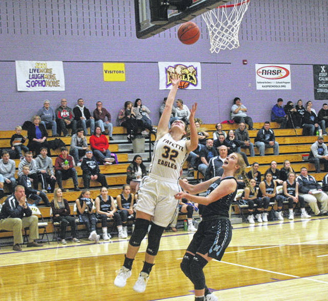 Fayette's Trista Fruchey lays one in during a BBC contest against Montpelier this season. The sophomore was recently named first team All-BBC.