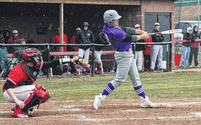 Michael Lawniczak of Swanton does work at the plate during a game last season. He is 1 of 10 seniors returning for the Bulldogs in 2019.