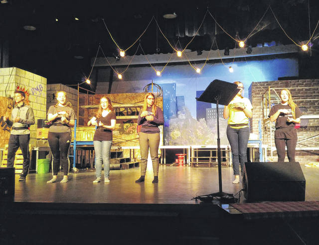 The cast of Pettisville High School's production of Godspell rehearses for their shows this week.