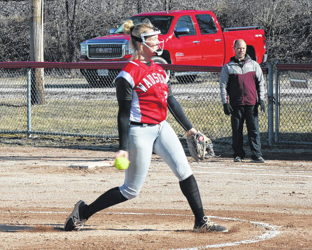 Wauseon pitcher Macee Schang deals during Tuesday's home opener against Edgerton. She would pick up the win in the circle, punching out 10 Bulldog hitters along the way.