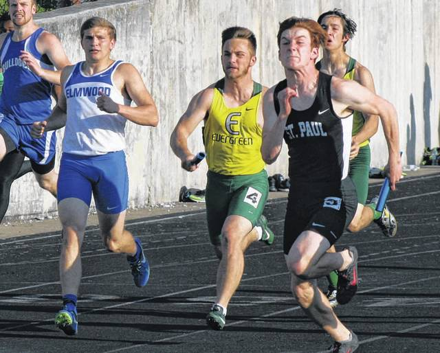 Hunter Vanwert of Evergreen, center, surges to the finish in the 4x100 meter relay at last year's regional meet in Tiffin. Three of the four members of that relay return after advancing to state a season ago.