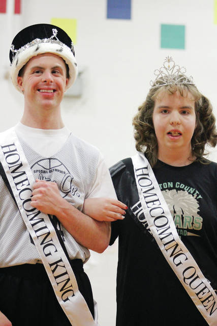 Nick Weigand of Archbold and Addy Gamber of Wauseon were crowned the 2019 Fulton County Jaguars Homecoming King and Queen at the recent Hollywood-themed Fulton County Special Olympics Homecoming. The Jaguars host Henry County Special Olympics in the annual event, held at Archbold Elementary School. Every year, the Archbold Student Council volunteers its time to attend, helping with refereeing, serving food, breaking it down on the dance floor, and cleanup. Also in the Homecoming Court were Dakota Hamrick of Swanton, Jason Fields of Delta, Kevin Bell of Wauseon, Ana Holz of Wauseon, Megan Marini of Archbold, and Deb Michalkiewicz of Delta.