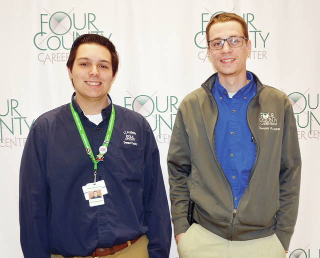 Trenton Peluso, left, of Evergreen schools, and Reese Knapp of Archbold schools, both members of the Four County Career Center Skills USA chapter, will participate in the Ohio State Skills USA Competition in Columbus on April 16-17 after qualifying at the regional competition. Skills USA members from all parts of Ohio will be competing for awards and the right to advance to National Skills and Leadership contests. The FCCC Skills USA advisor is Krista Whetro.