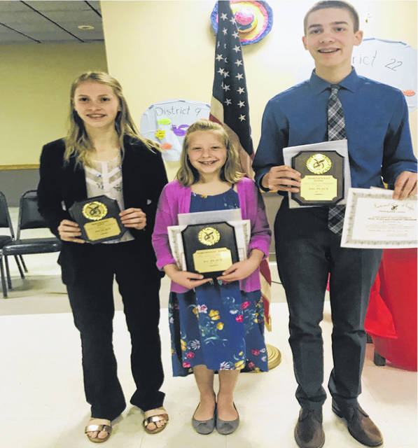 Emma Crow, Kyla Risner and Holden Barnes, the God, Flag, and Country representatives for the Delta Eagles.