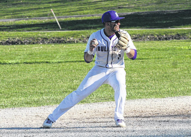Swanton shortstop Hunter Mix throws to first for an out versus Bryan Monday. The Bulldogs fell to the Golden Bears 10-5, dropping them to 0-3 in the league.