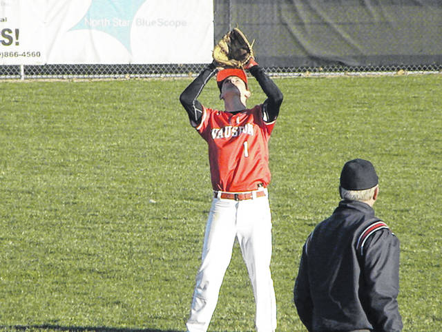 Wauseon shortstop Eric Parker prepares to haul in a pop up during Monday's NWOAL matchup with Delta. The Indians thwarted a stingy comeback attempt by the Panthers, winning 8-6.