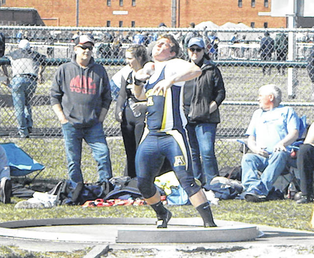 Archbold's Josh Richer competes in the shot put at the Bob Eisenhart Invitational at Tinora Saturday. He finished third in the event, helping the Blue Streaks finish first in the team standings.