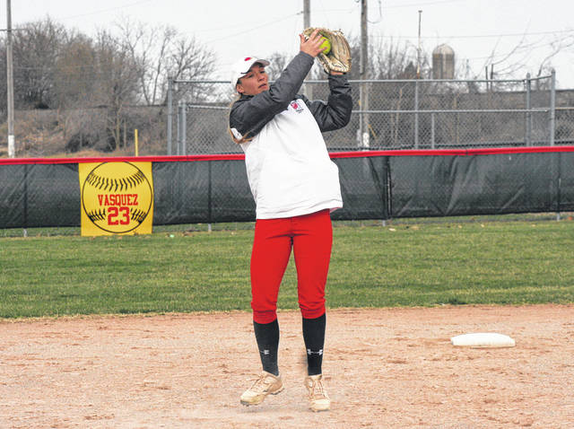 Wauseon shortstop Alisa Shelt catches a lineout during Thursday's NWOAL matchup with Liberty Center. The Indians took down the Tigers 9-4 for their first league win.