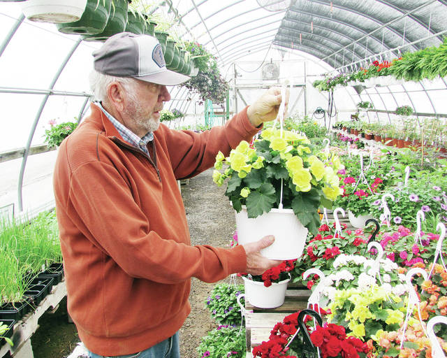 Lil Bit Country co-owner Charlie Lynch checks the progress of hanging baskets in his greenhouse. Often, hanging plants suffer from both under- and over-watering.