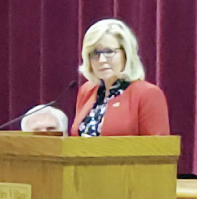 Congresswoman Liz Cheney (R-Wyoming), the conference chair of the House GOP and the highest-ranking Republican woman in Congress, was the featured speaker Monday at Congressman Bob Latta's 2019 Lincoln-Reagan Day Dinner, held at Sauder Village in Archbold. First elected in 2016, Cheney serves as Wyoming's lone member of the U.S. House of Representatives. She served previously as Deputy Assistant Secretary of State at the State Department and as Principal Deputy Assistant Secretary of State for the Middle East.