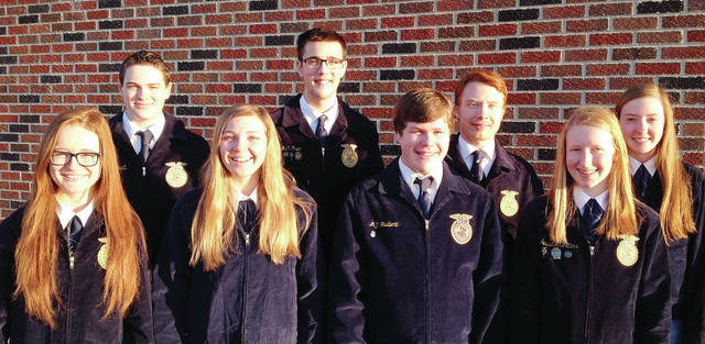 Pettisville FFA recently elected these officers for the 2019-20 school year. They will be installed at the FFA banquet on April 11. Officers include, from left, Kearsten Zuver, secretary; Carson Bennett, treasurer; Ava Hoylman, sentinel; Matt Rupp, vice president; Andrew Hulbert, reporter; Jaton Zuver, student advisor; Jessie McWatters, president; Karsen Pursel, assistant officer.