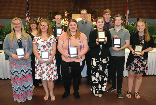 Fulton County students receiving awards included - front, from left - Morgan Todd of Wauseon, Ariel Kohlhofer of Delta, Allianna Hite of Delta, Megan Allen of Delta, Josiah Barnhart of Delta, Lauren Day of Evergreen - back from left - Brookelyn Erd of Delta, Zachary VanHoy of Wauseon, Reese Knapp of Archbold, and Brock Ranzau of Archbold. Not pictured: Alexis McCormick of Evergreen.