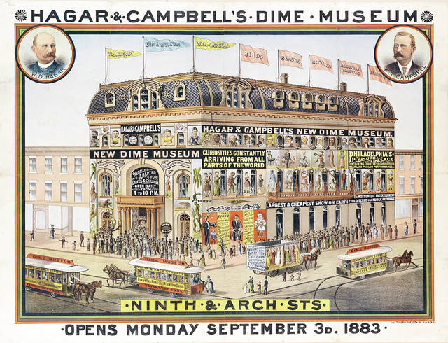 "An advertisement for the ""dime"" museum opened in Philadelphia by Wood Campbell and William Hagar in 1893. They sold the enterprise three years later."