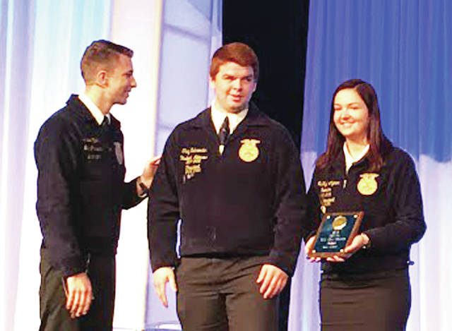 Wauseon FFA members Trey Schroeder and Mckayla Clymer were recognized at the state convention for Wauseon's Gold Rated Chapter Award.