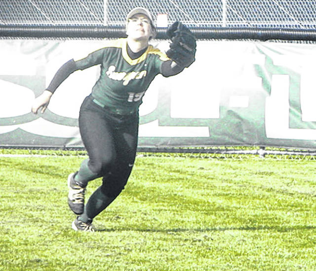 Evergreen's Myra Kuszmaul tracks down a fly ball in a game this season. Kuszmaul was named second team All-NWOAL.