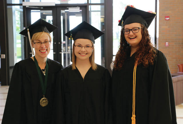 A Delta woman was among three medical assisting graduates honored at Northwest State Community College's spring commencement. Pictured, from left, are Amy Huffman of Delta, Erin Vanderpool of Morenci, and Ava Moats-Landis of Bryan. Huffman also recently received Award of Merit honors.