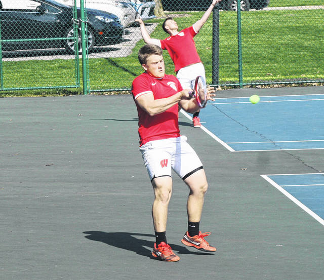 Sam Frank of Wauseon with a return shot in a home match from earlier this season. Paired with Tristan Uribes, the duo won a Division II sectional doubles title last weekend at Defiance College. They defeated Archbold's Erik Short and Clay Gerig for the title, and they also advanced.