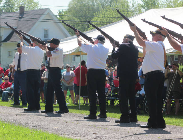 A Three Volley Salute is performed at Swanton's Memorial Park on Memorial Day.