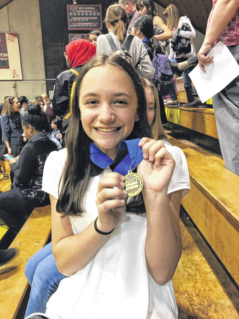 Leigh Morris of Pike-Delta-York Schools took took first place at The Ohio History Day competition at Ohio Wesleyan University on Saturday. With the finish she advances to the contest in the Washington D.C. area in June.