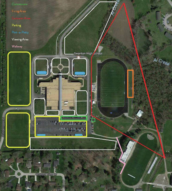 The layout, including seating and parking, for the Swanton Fireworks Fest.