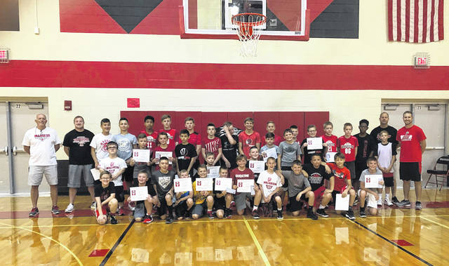 The Wauseon boys basketball program recently completed their camp for incoming fifth through eighth graders. Contest winners and runners-up included fifth graders Kyson Powers, Malachi Wyse, Kelby Parsons, Chandler Birtcher, Mason James and Brody Chittenden. Sixth grade winners and runners-up were Maguire Willson, Joseph Lugbihl, Joshua Bourn, Brayden Burkholder, Jaden Poulson and Ethan Woodard. Seventh grade winners and runners-up were Cameron Hunter, Nicholas Stinner, Wyatt Smith, Ethan Schnitkey and Nathaniel Stinner. Eighth grade winners and runners-up were Levi Tester, Xavier Martinez, Braden Vajen, Elijah McLeod, Landen Thourot, Trey Parsons and Tyson Rodriguez.