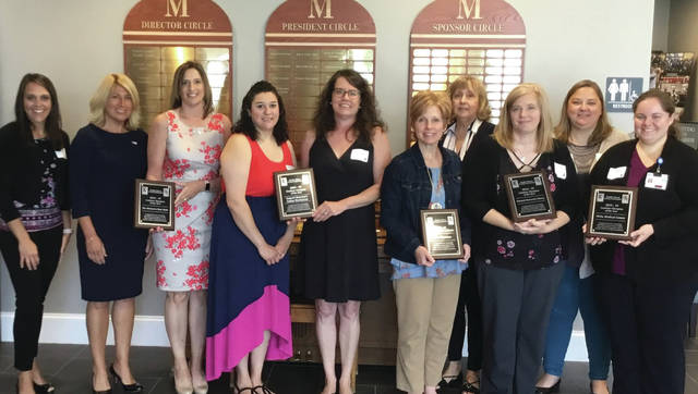 Healthy Choices Caring Communities' 2018-19 Coalition Award Winners, from, left, Toni Schindler (HC3 Publicity Committee Chair), Kate Fisher and Kim Smallman (Metamora State Bank), Natasia Ramos and Holly Merillat (Samuel Mancino's Italian Restaurant), Kim Kinsman (HC3 Coalition Member of the Year), Sharon Morr (HC3 Coalition Chair), Wendy Adams (Fayette Normal Memorial Library), Jana Friess and Trisha Youtzy (Delta Medical Center). Not pictured: Skye Cinema, Weeping Willow Florist, Vanessa Ridley (HC3 Coalition Member of the Year), Jacob Blanchard and Isabella Ruiz (YAC Members of the Year).