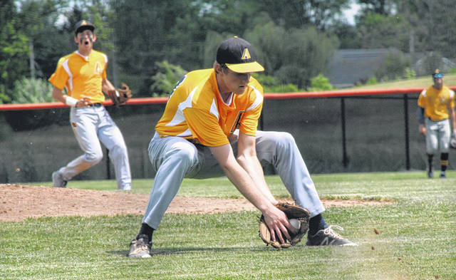 Archbold pitcher Ethan Hagans fields a bunt during a Division III baseball regional semifinal versus Upper Sandusky Thursday at Ed Sandy Field in Elida. The Blue Streaks shut out the Rams 3-0, but fell 5-4 in extra innings against Coldwater in the regional final on Friday.