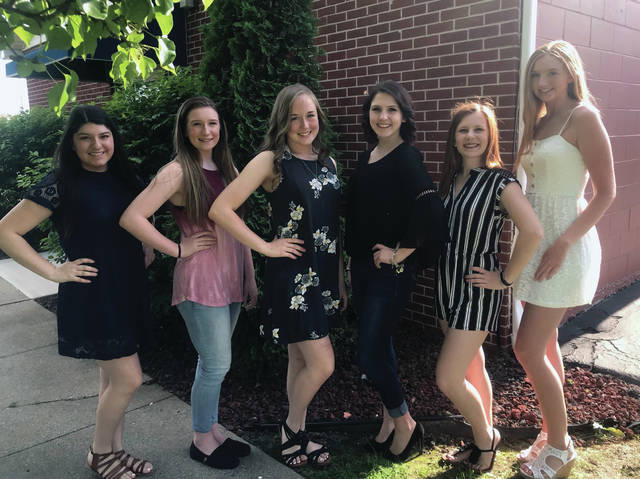 2019 Homecoming Queen candidates, from left, are Marissa Martinez, Olivia Clark, Haleigh Wurst, Karli Callahan, Jessica French, and Julie Waldron.