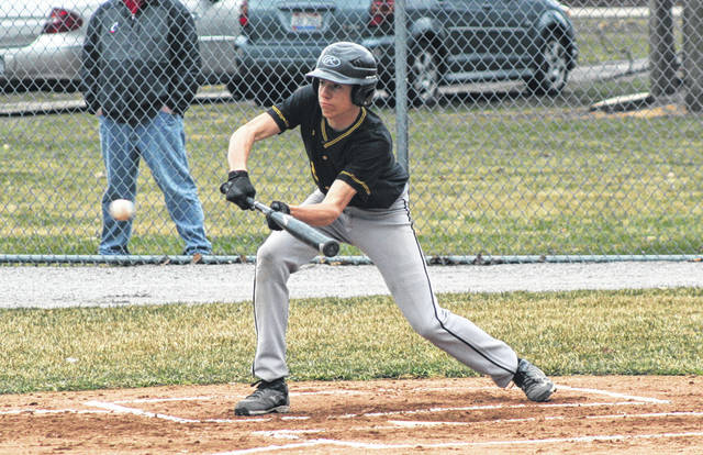 Logan Rufenacht of Pettisville lays down a bunt in a game this season. He was recently chosen second team All-BBC.