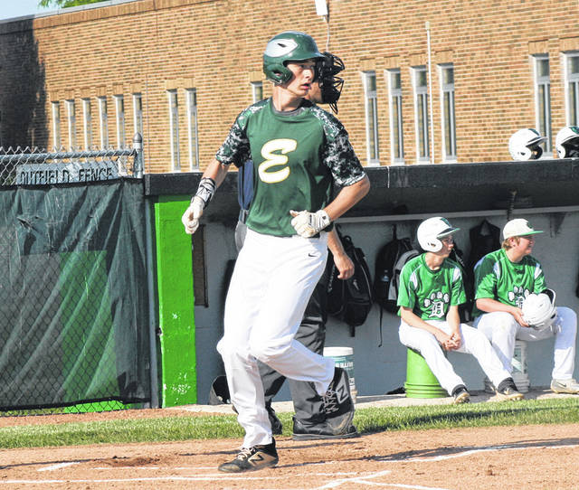 Evergreen's RJ Schunck steps on home plate for a run in ACME baseball action at Delta Tuesday. Schunck and the Vikings were victorious over the Panthers, 9-1.