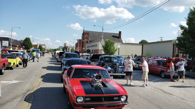 Classic cars line Fulton Street Tuesday as the June Super Cruise was held in downtown Wauseon. There were 312 vehicles, including cars, tractors, motorcycles, a semi, and a couple of dragsters. Regular Cruise Nights are from 6-8 p.m. on Tuesdays through August. Super Cruises run until 9 p.m.