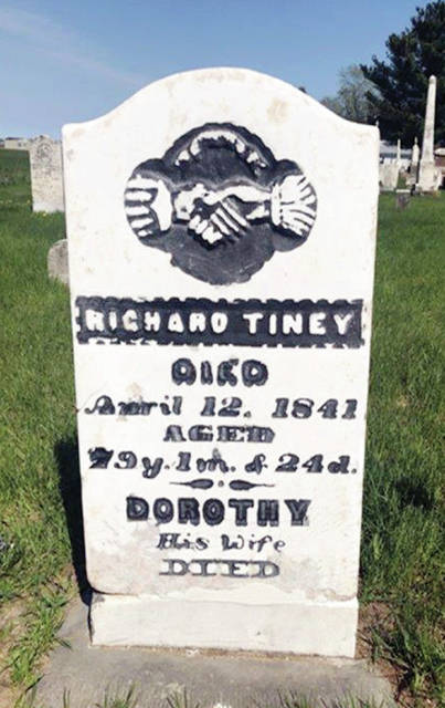 The gravestone of Richard Tiney, a Navy veteran of the Revolutionary War who is buried in Edgar Cemetery in Fulton County.