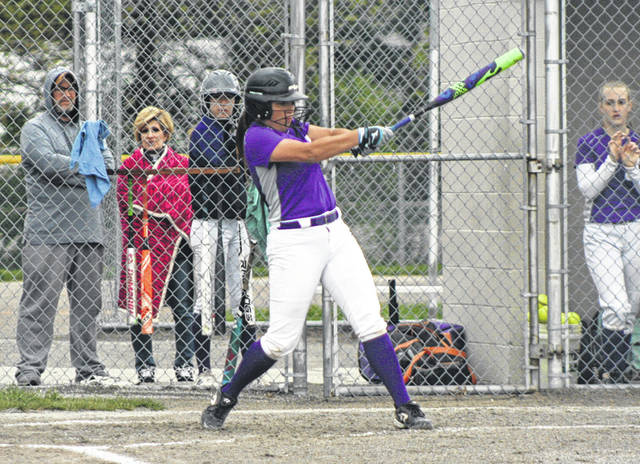 Kylie Ulch of Swanton swings in a district semifinal matchup with Eastwood last month. She was first team all-district in Division III.