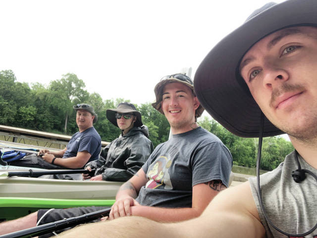 Four local kayakers recently set off on an annual adventure in which they challenge themselves to prove they can survive with what their kayaks can carry. This year, the adventure began in Fort Wayne, Ind., and ended at Lake Erie. The trip took four days and lasted over 100 miles. Pictured, from left, in a selfie photo, are Jason Simon, Christian Renner, Josh Simon, and Darren Ward.