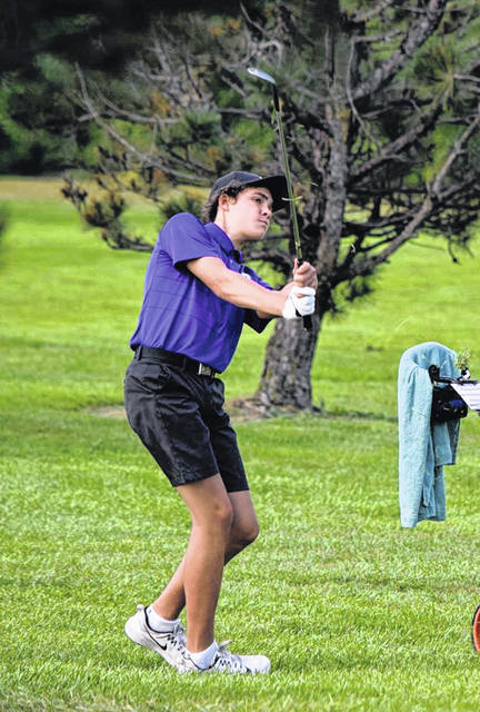 Sam Betz of Swanton with a shot in a match last season. He was honorable mention all-league last season as a freshman.