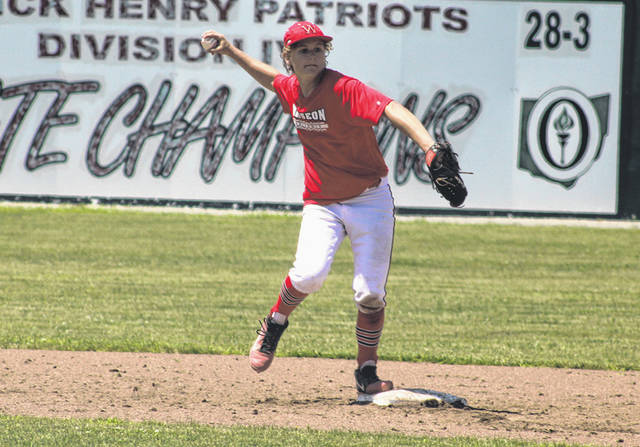 Kolten DeGroff of Wauseon steps on the bag at second and turns a double play Sunday versus Kalida in a ACME district tournament game at Patrick Henry. The Indians suffered a pair of losses to the Wildcats around a 5-1 victory over Ottawa-Glandorf, ending their summer season.