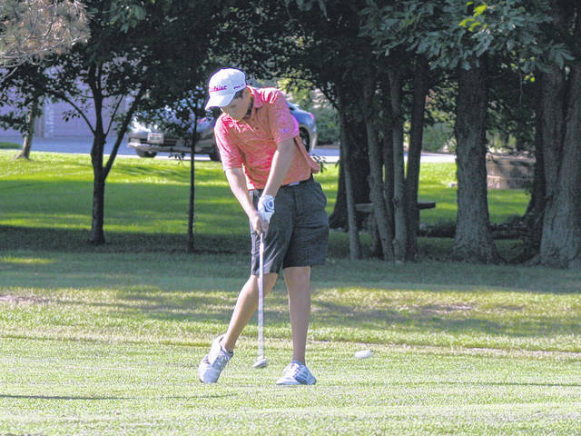 Wauseon's Dylan Grahn with a shot from the fairway during a match at Ironwood last season. He was a district qualifier for the Indians last year as a sophomore.